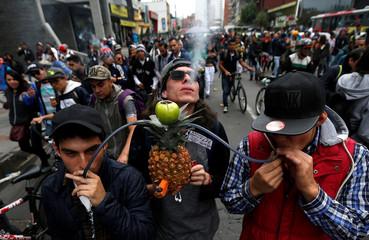 Men smoking marijuana through a pineapple during a Global March for marijuana in Bogota