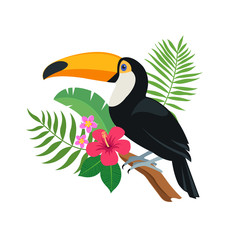 Cute toucan bird sitting on a tropical branch with exotic leaves and flowers of hibiscus and plumeria. Bright colorful vector illustration in cartoon style