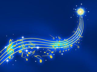 譜面 音楽 楽譜 音符 ト音記号 夜空 星空 流星 ミュージック