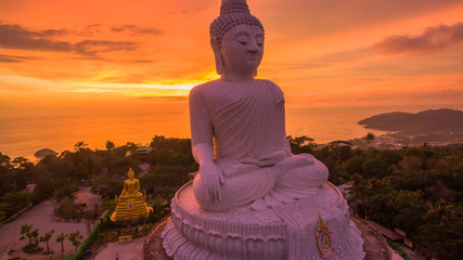 beautiful sunset behind Phuket big Buddha