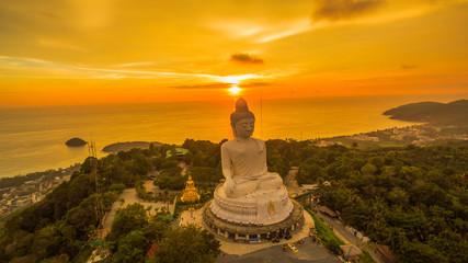 beautiful sunset behind Phuket big Buddha
