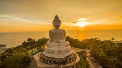 Keuken foto achterwand Boeddha beautiful sunset behind Phuket big Buddha