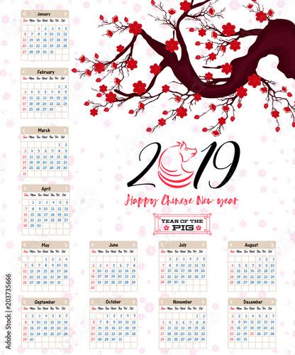 Lunar Calendar 2019 Chinese New Year Calendar 2019 Chinese calendar for happy New Year 2019 year of the