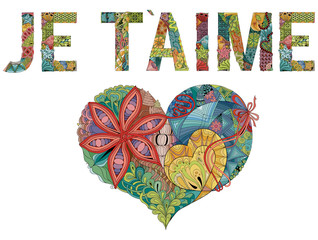 Words JE T AIME with heart. I love you in French. Vector decorative zentangle object