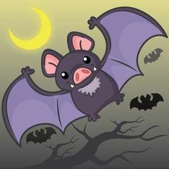 Flying bats, cute vector, cute cartoon