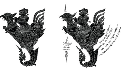 Thai traditional tattoo, Thai traditional painting in temple vector