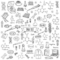 Hand drawn doodle DNA test icons set. Vector illustration. Medical lab symbol collection. Cartoon nano technology, medicine, genome elements: research tools, substance, molecules, nitrogenous bases