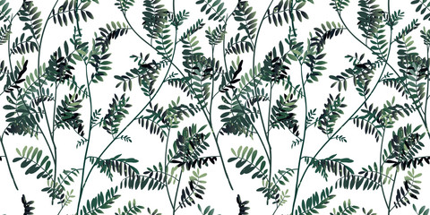 Seamless pattern, hand drawn green leaves, floral garden on white background