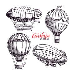set of vintage airships