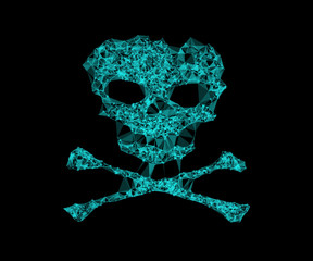Human skull network line pattern background. Concept of network security, cyber attack, computer virus, ransomware. Vector illustration