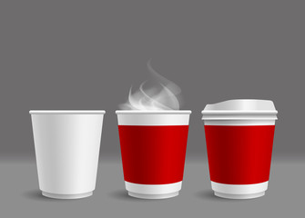 Hot coffee cup with smoke on gray background vector illustration