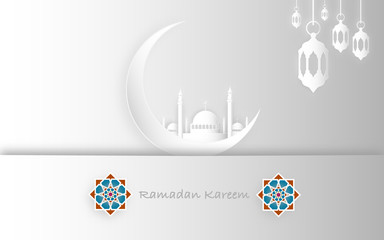 Ramadan Kareem and Eid Fitr concept. Illustration of mosque, moon and islamic geometry. Paper cut style.