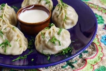 Dumplings, Manti - traditional meat dish of Central Asia, Turkey, Mongolia, Korea.