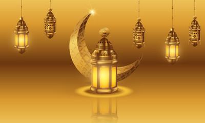 Ramadan kareem background, illustration with arabic lanterns and golden ornate crescent