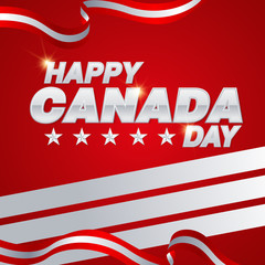 Vector card for Canada Day. Illustration for 1st of July Canada Independence Day with flag and maple leaf