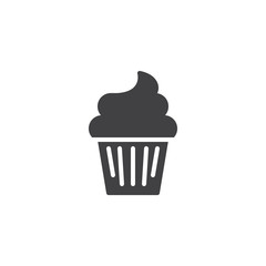 Cupcake vector icon. filled flat sign for mobile concept and web design. Muffin cake simple solid icon. Symbol, logo illustration. Pixel perfect vector graphics