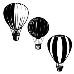 Set of illustrations of air balloons. Design element for logo, label, emblem, sign.