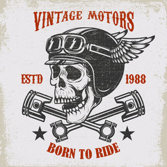 Vintage motors. Ride hard. Vintage racer skull in winged helmet illustration on grunge background. Design element for poster, emblem, sign, t shirt.