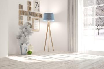 White empty room with winter landscape in window. Scandinavian interior design. 3D illustration