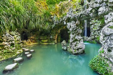 The garden of Quinta Da Regaleira in Sintra, Portugal