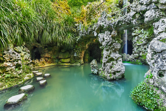 The garden of Quinta Da Regaleira in Sintra, Portugal