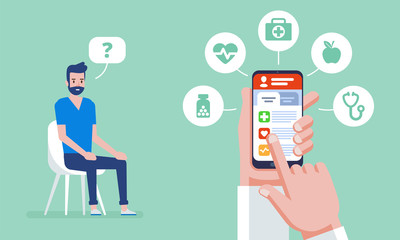 Online medicine. Doctor online concept with icons set. Doctor's appointment.
