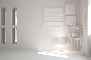 White empty room with chair. Scandinavian interior design. 3D illustration