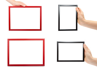 set of different Decorative black and red photo frame with hand isolated on white background