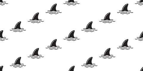 shark fin seamless pattern dolphin vector isolated whale sea ocean tropical summer repeat background wallpaper