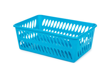 Blue laundry basket, grocery container isolated on white background