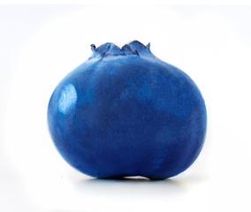 Isolated Blueberry. One fresh blueberry isolated on white background, macro studio shot.
