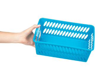 Blue laundry basket with hand, grocery container isolated on white background