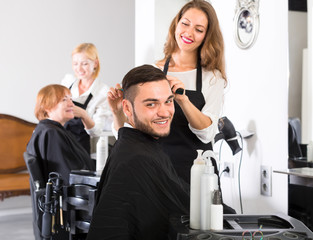 Handsome man in a barbershop