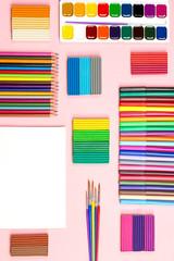 School supplies arrangement. Back to school concept.