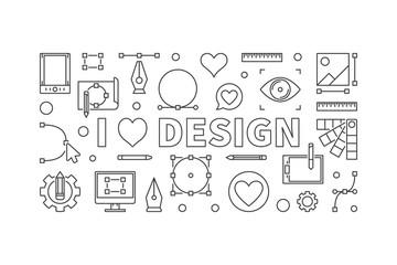 I love design vector concept horizontal outline banner