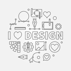 I love design vector round line symbol or illustration