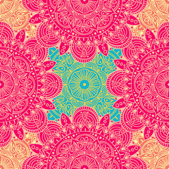 Seamless ethnic pattern with floral motives. Mandala stylized print template for fabric and paper. Boho chic design. Summer fashion.