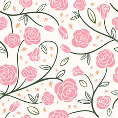 Pink Rose Garden seamless background. Spring Rose Vines. Perfect for wallpaper, scrapbooking, fabric projects