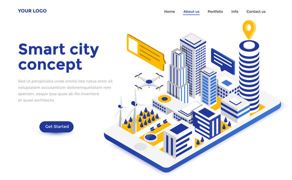 Flat color Modern Isometric Concept Illustration - Smart city