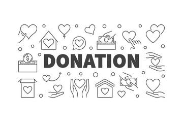 Donation vector modern line illustration or banner