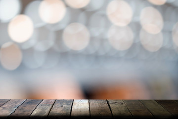 wooden top table with blurred bokeh background, For montage product display or design key visual layout