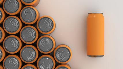 Big orange soda cans on white background