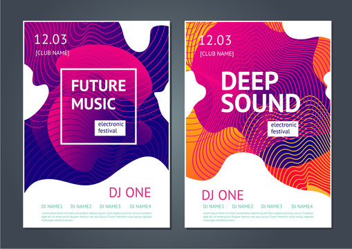 Deep sound. Abstract poster for electronic music festival. Guilloche line and dynamic fluid background.