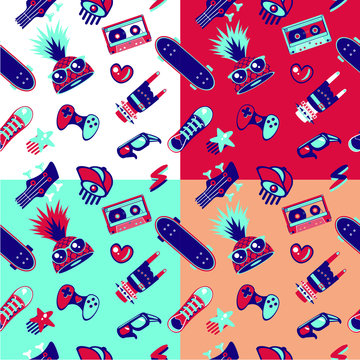 Funky seamless pattern with teenagers culture elements. Teens fashion, bright vector texture.