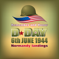 Holiday design, background with 3d texts, army helmet and national flag colors for D-Day American event, celebration; Vector illustration