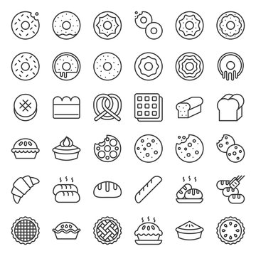 Bread, donut, pie, bakery product, outline icon set