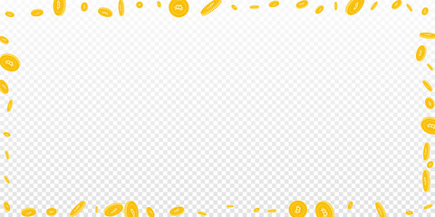 Bitcoin, internet currency coins falling. Scattered disorderly BTC coins on transparent background. Appealing wide frame vector illustration. Jackpot or success concept.