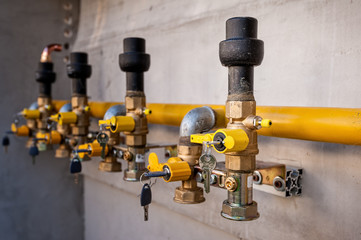 Gas pipe and valve with lock.