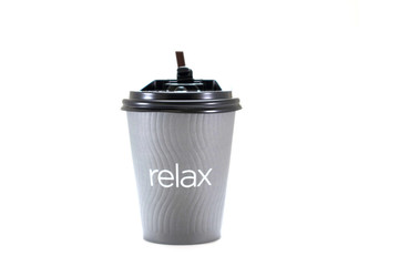 Paper coffee cup and wording relax on a white background