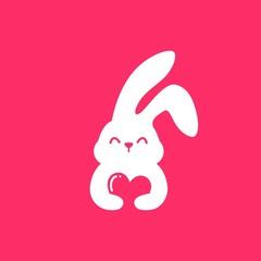 rabbit love hare bunny cute smile hug lover negative space logo vector illustration